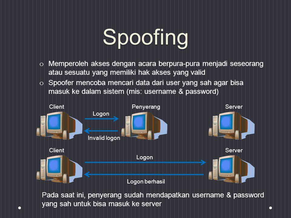 Spoofing Memperoleh akses dengan acara berpura-pura menjadi seseorang atau sesuatu yang memiliki hak akses yang valid.