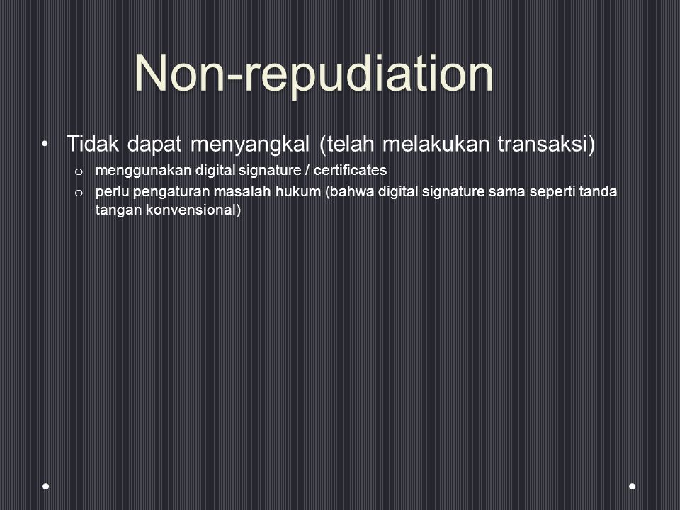 non repudiation The non-repudiation service can be viewed as an extension to the identification and authentication service in general, non-repudiation applies when data is transmitted electronically for example, an order to a stock broker to buy or sell stock, or an order to a bank to transfer funds from one account to another.