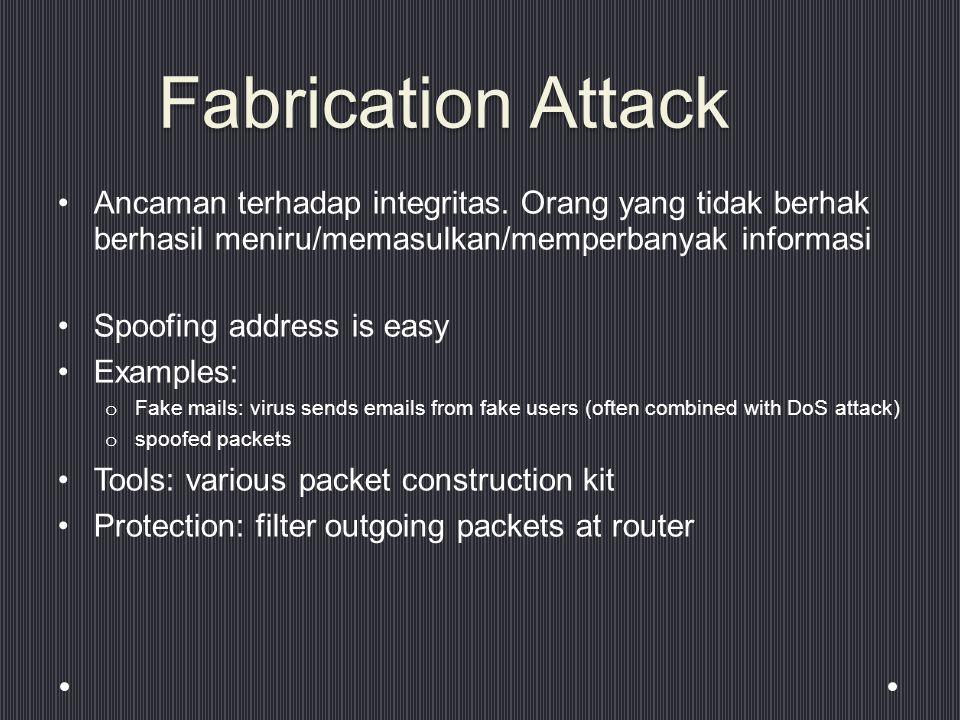 Fabrication Attack Ancaman terhadap integritas. Orang yang tidak berhak berhasil meniru/memasulkan/memperbanyak informasi.