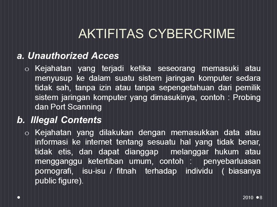 AKTIFITAS CYBERCRIME a. Unauthorized Acces b. Illegal Contents