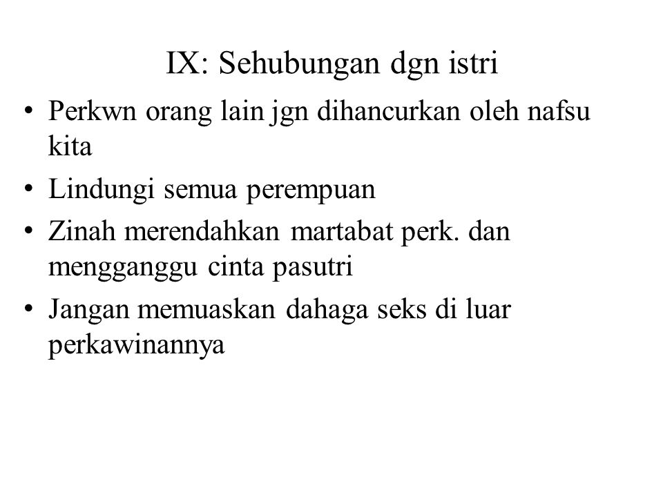 IX: Sehubungan dgn istri