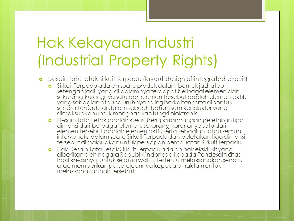Hak Kekayaan Industri (Industrial Property Rights)
