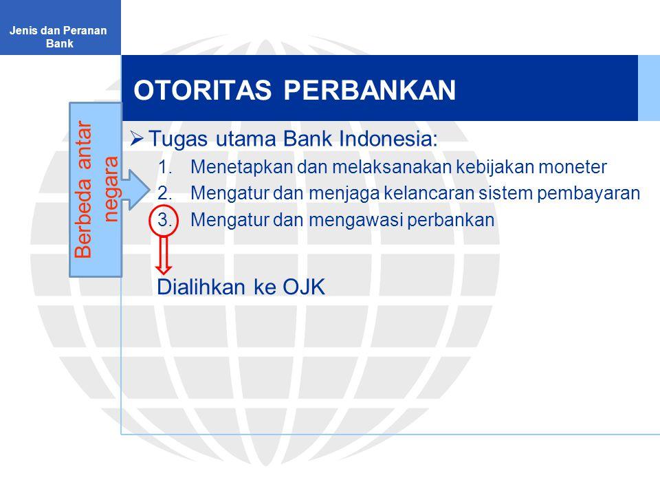 OTORITAS PERBANKAN Berbeda antar negara Tugas utama Bank Indonesia: