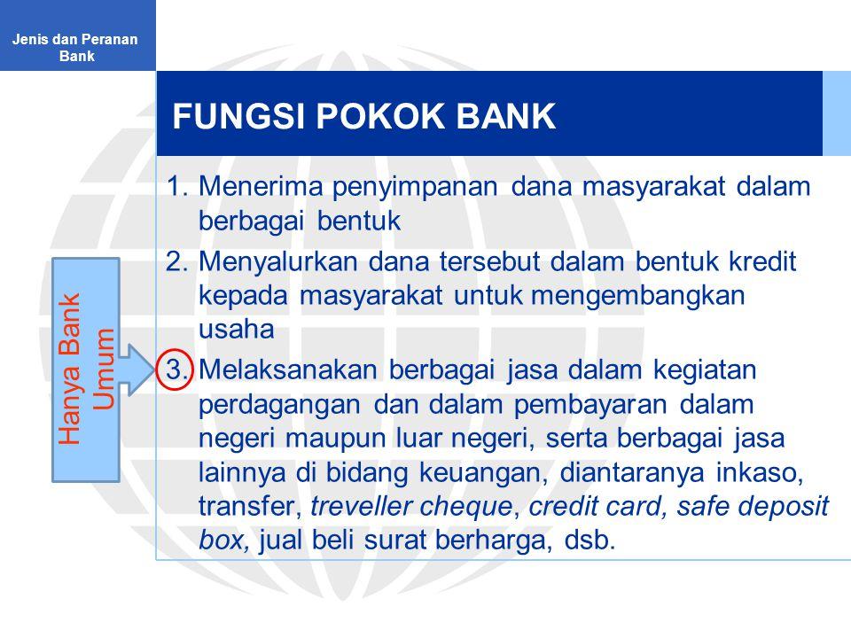 Jenis dan Peranan Bank. FUNGSI POKOK BANK. Menerima penyimpanan dana masyarakat dalam berbagai bentuk.