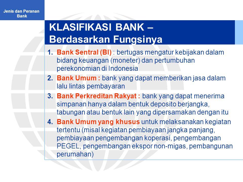 KLASIFIKASI BANK – Berdasarkan Fungsinya