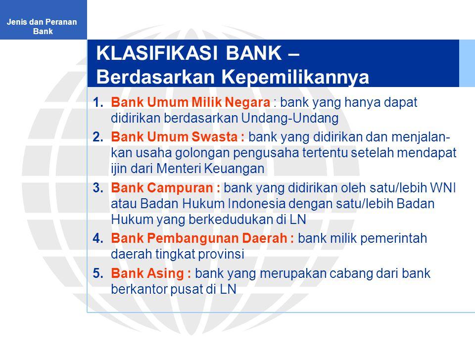 KLASIFIKASI BANK – Berdasarkan Kepemilikannya