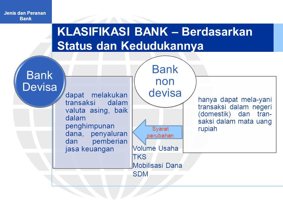 KLASIFIKASI BANK – Berdasarkan Status dan Kedudukannya