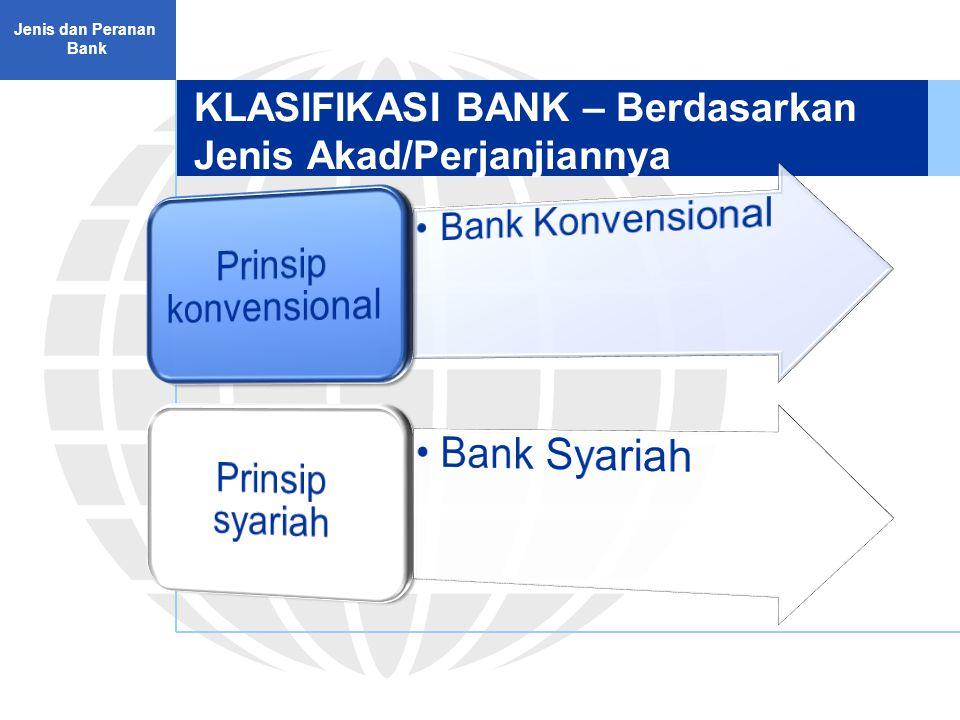 KLASIFIKASI BANK – Berdasarkan Jenis Akad/Perjanjiannya