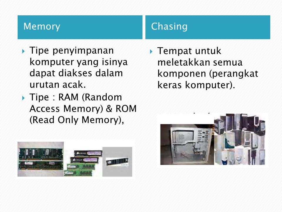 Memory Chasing. Tipe penyimpanan komputer yang isinya dapat diakses dalam urutan acak.