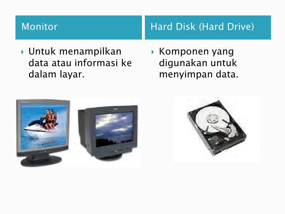 Monitor Hard Disk (Hard Drive) Untuk menampilkan data atau informasi ke dalam layar.