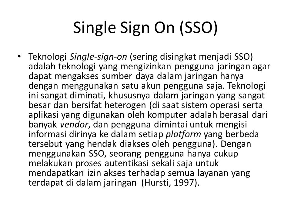 Single Sign On (SSO)