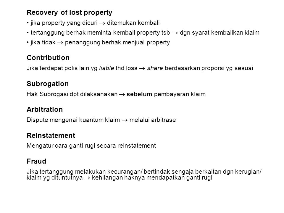 Recovery of lost property