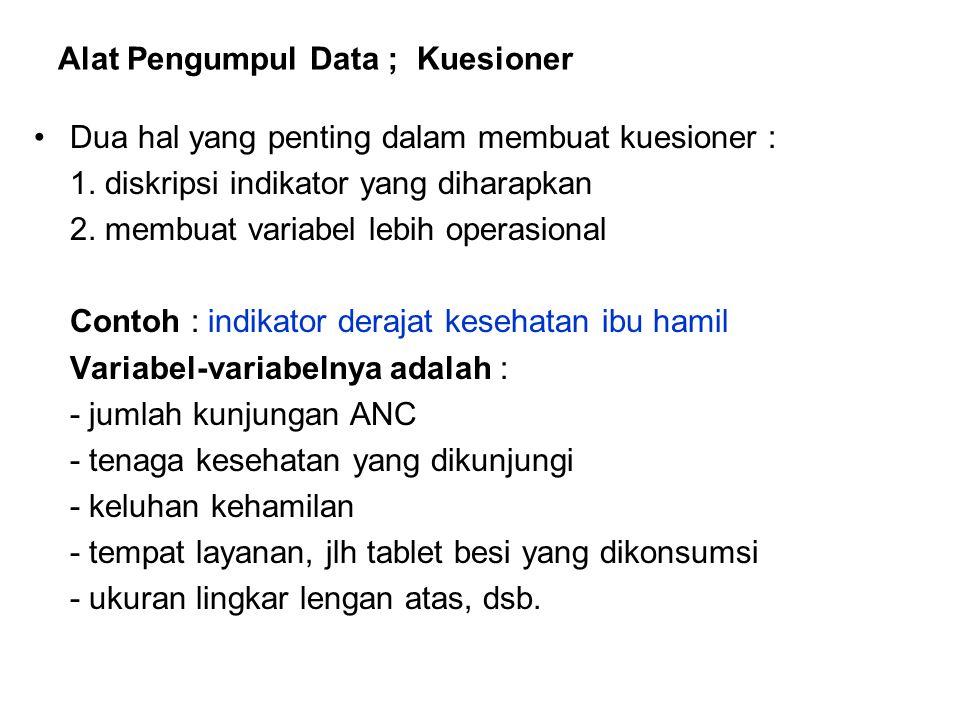 Alat Pengumpul Data ; Kuesioner