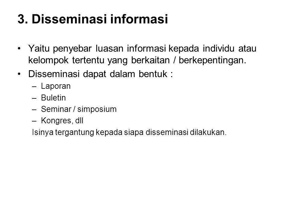 3. Disseminasi informasi