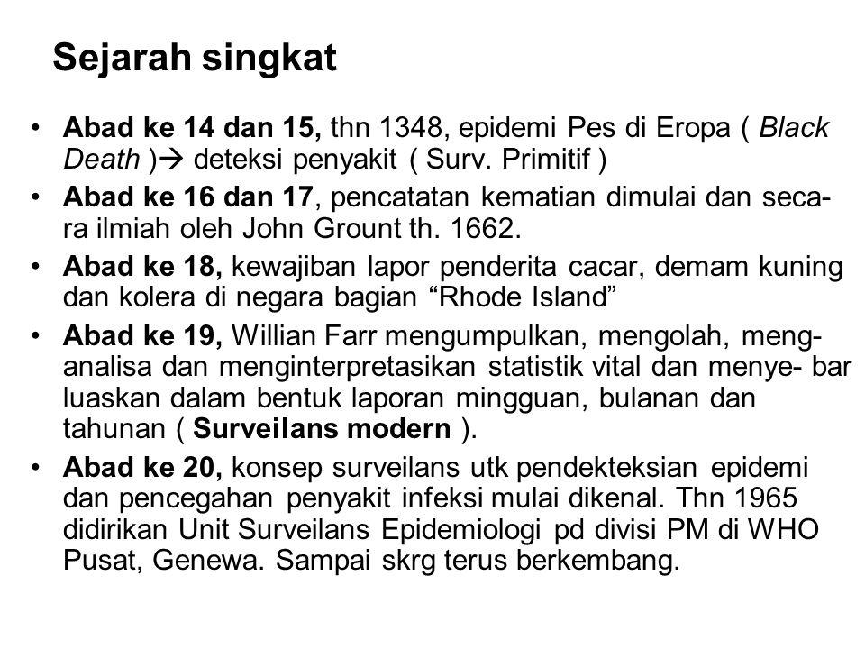 Sejarah singkat Abad ke 14 dan 15, thn 1348, epidemi Pes di Eropa ( Black Death ) deteksi penyakit ( Surv. Primitif )