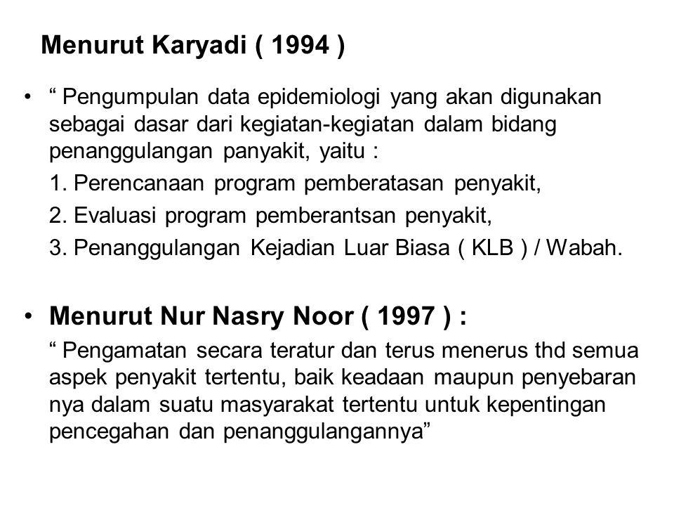 Menurut Nur Nasry Noor ( 1997 ) :