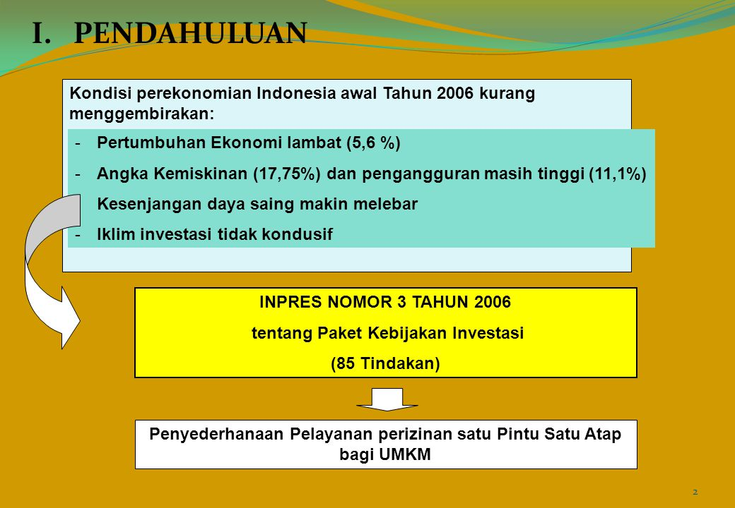 I. PENDAHULUAN Kondisi perekonomian Indonesia awal Tahun 2006 kurang menggembirakan: Pertumbuhan Ekonomi lambat (5,6 %)