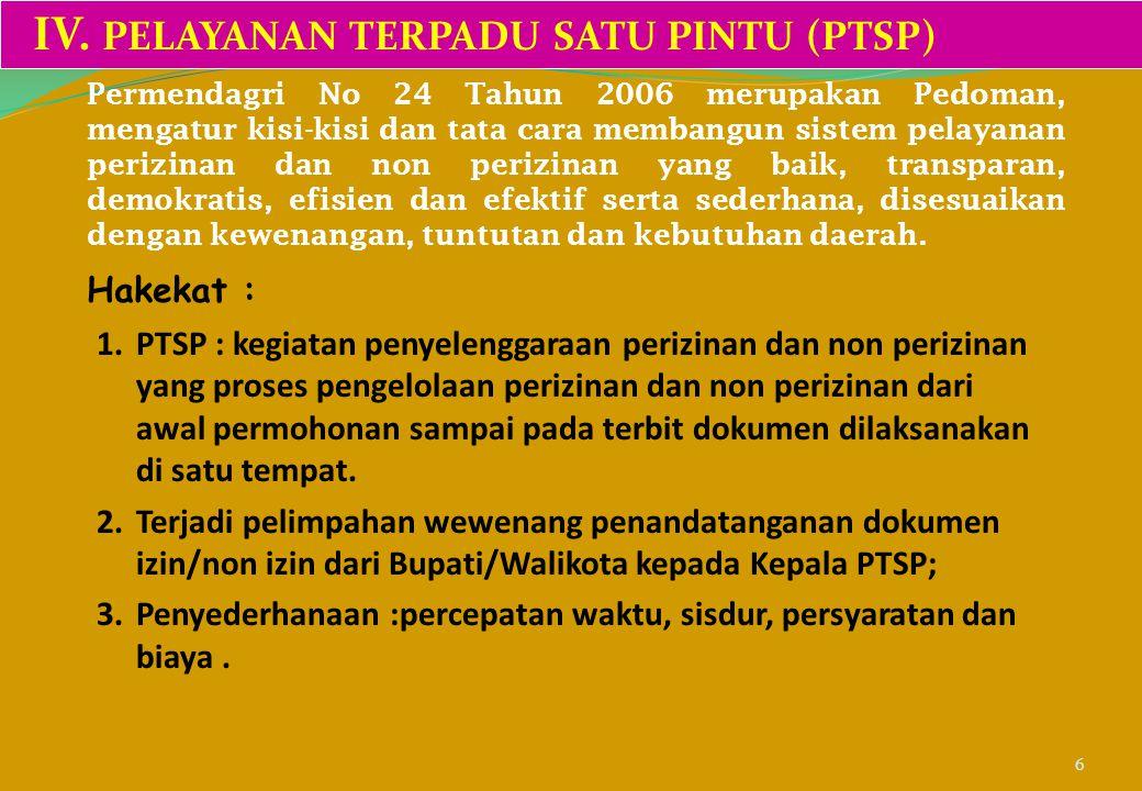 IV. PELAYANAN TERPADU SATU PINTU (PTSP)