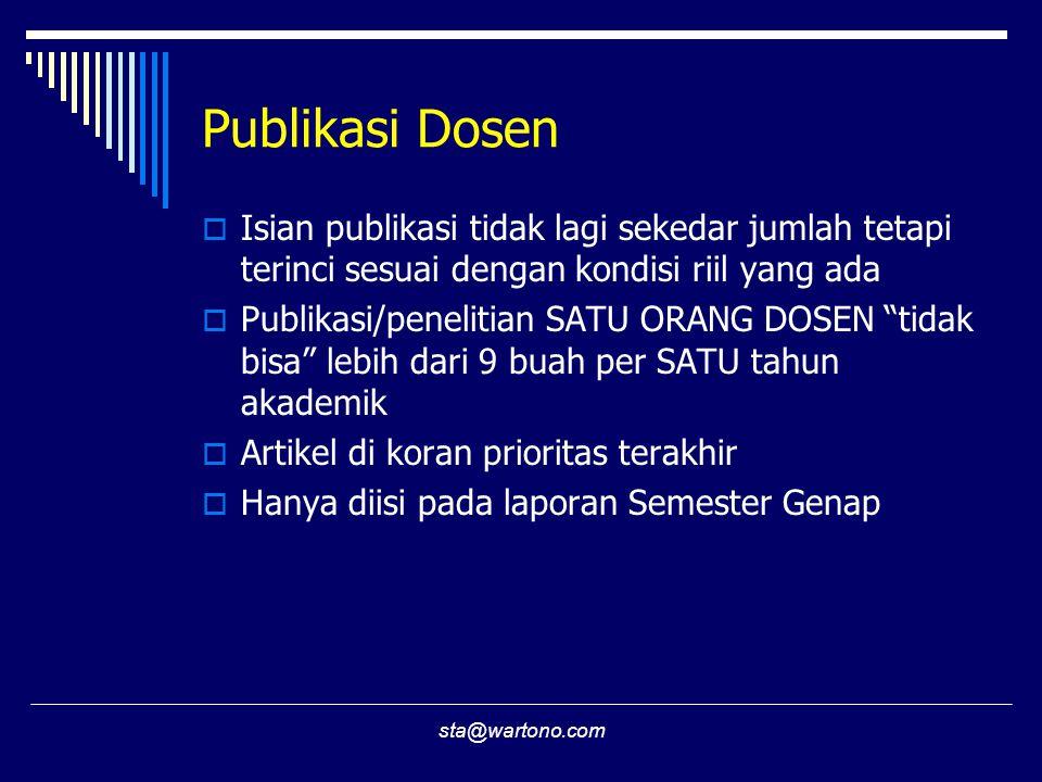 Publikasi Dosen Isian publikasi tidak lagi sekedar jumlah tetapi terinci sesuai dengan kondisi riil yang ada.