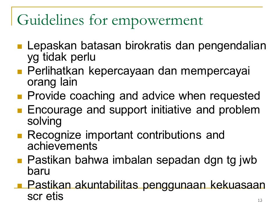 Guidelines for empowerment