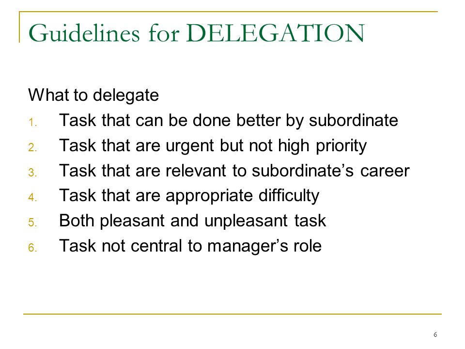Guidelines for DELEGATION