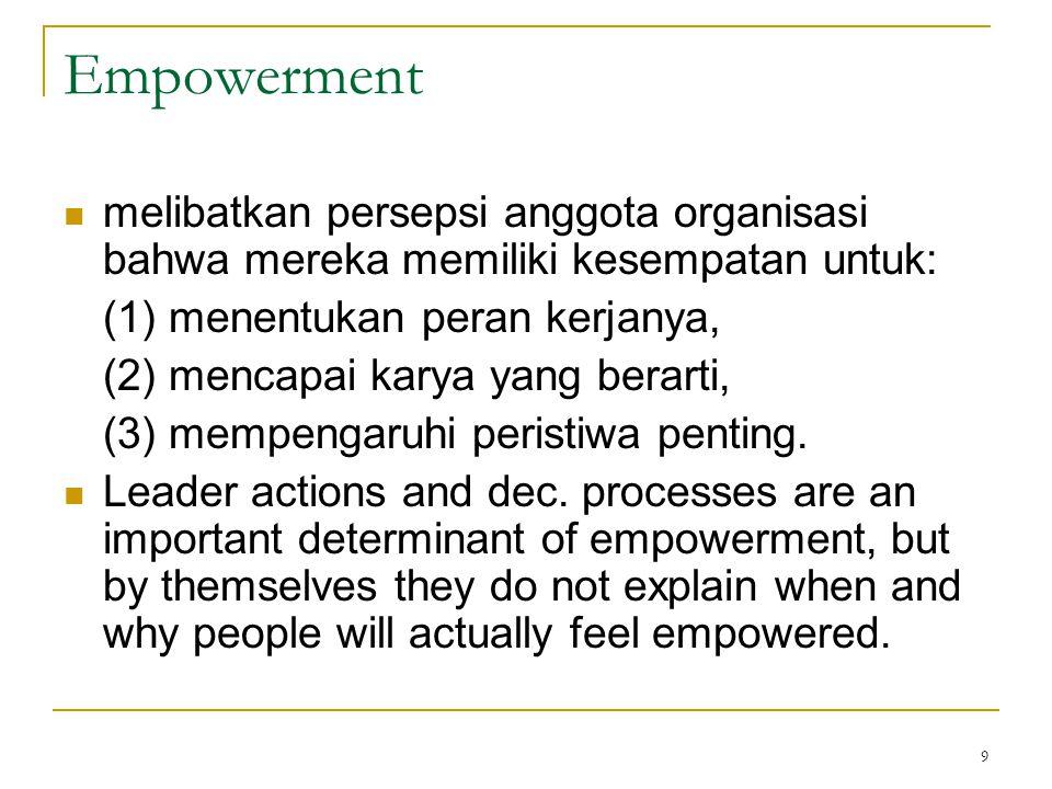Empowerment melibatkan persepsi anggota organisasi bahwa mereka memiliki kesempatan untuk: (1) menentukan peran kerjanya,