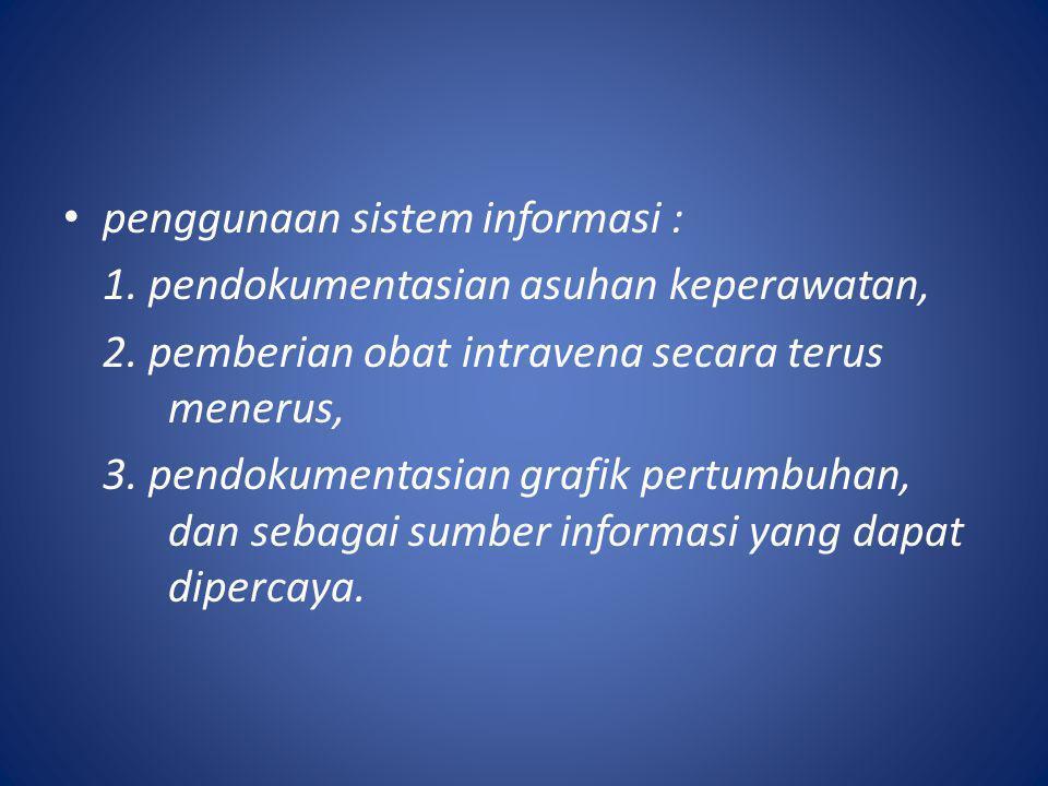 penggunaan sistem informasi :