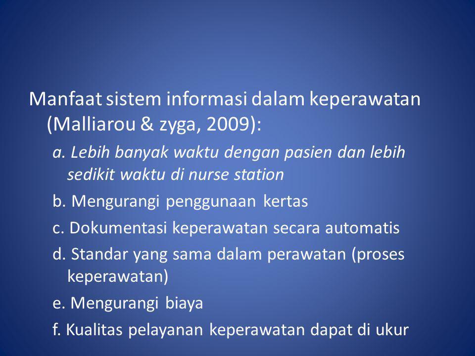 Manfaat sistem informasi dalam keperawatan (Malliarou & zyga, 2009):