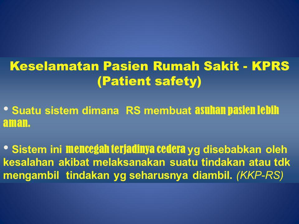 Keselamatan Pasien Rumah Sakit - KPRS (Patient safety)