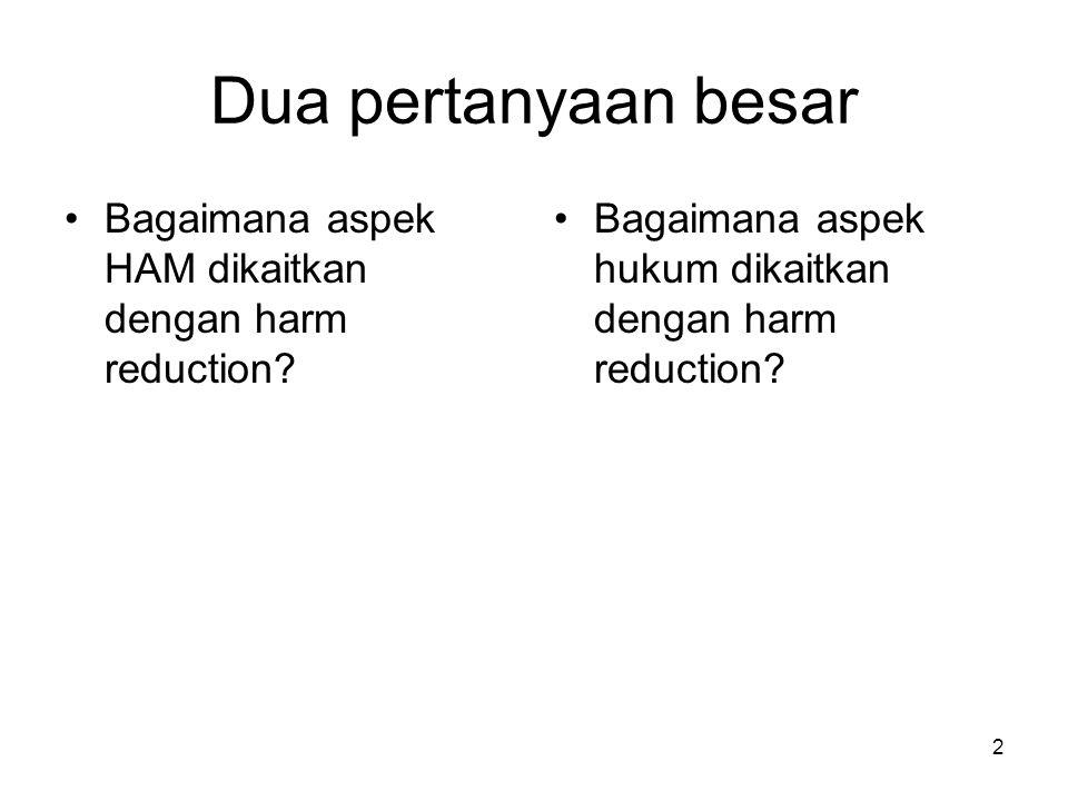 Dua pertanyaan besar Bagaimana aspek HAM dikaitkan dengan harm reduction.