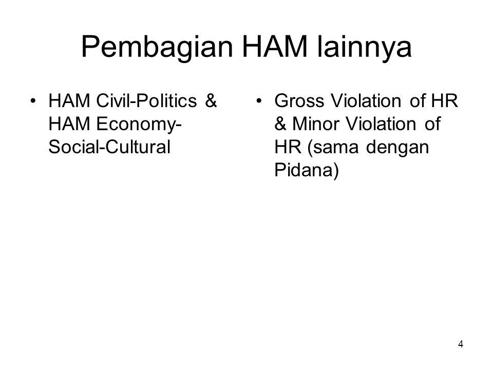 Pembagian HAM lainnya HAM Civil-Politics & HAM Economy-Social-Cultural