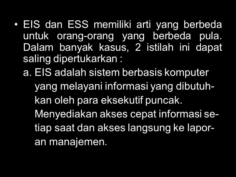 EIS dan ESS memiliki arti yang berbeda untuk orang-orang yang berbeda pula. Dalam banyak kasus, 2 istilah ini dapat saling dipertukarkan :