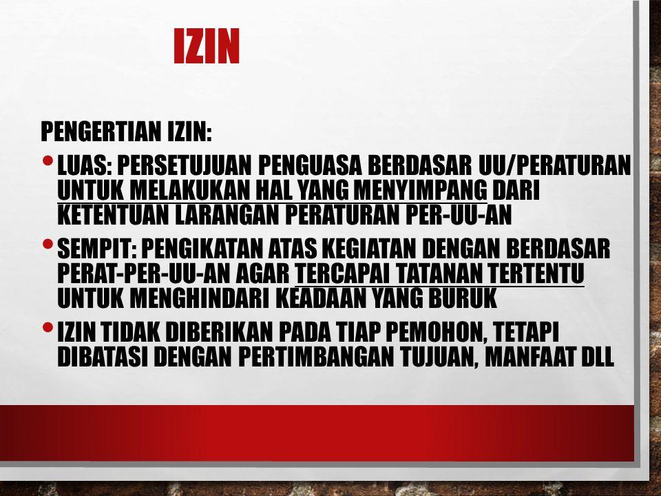 IZIN PENGERTIAN IZIN:
