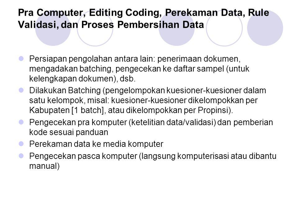 Pra Computer, Editing Coding, Perekaman Data, Rule Validasi, dan Proses Pembersihan Data