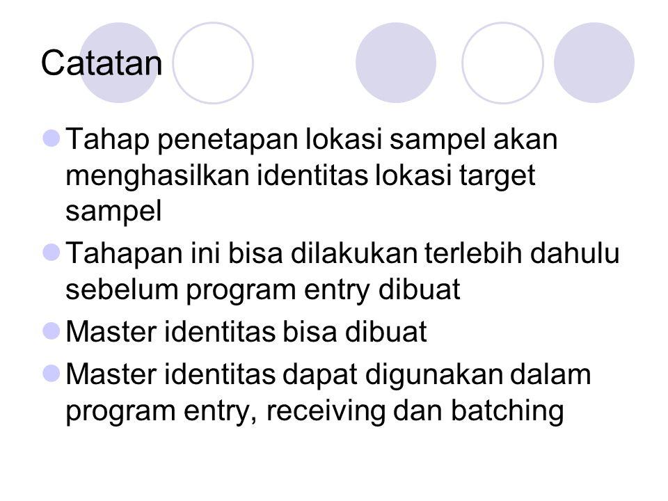 Catatan Tahap penetapan lokasi sampel akan menghasilkan identitas lokasi target sampel.