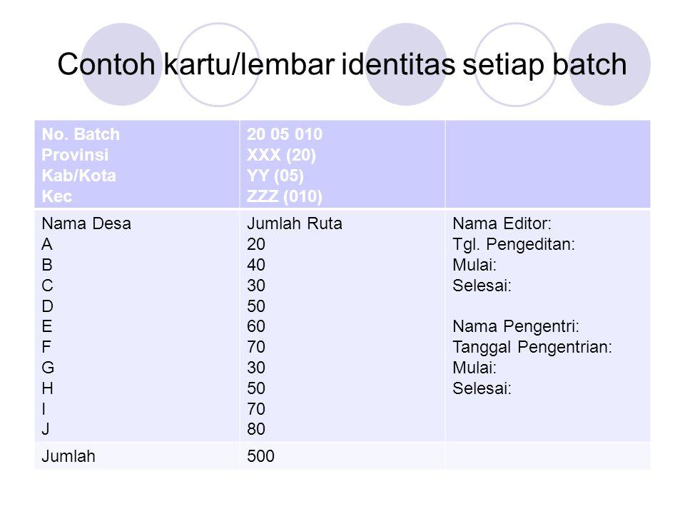Contoh kartu/lembar identitas setiap batch