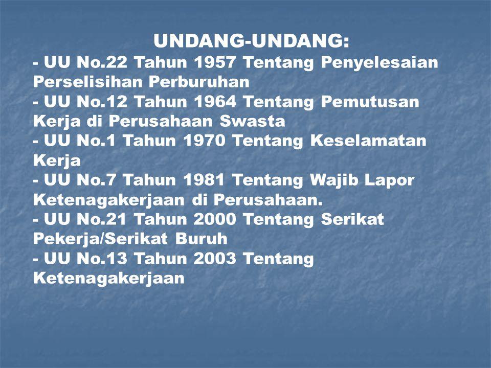 UNDANG-UNDANG: - UU No.22 Tahun 1957 Tentang Penyelesaian Perselisihan Perburuhan.