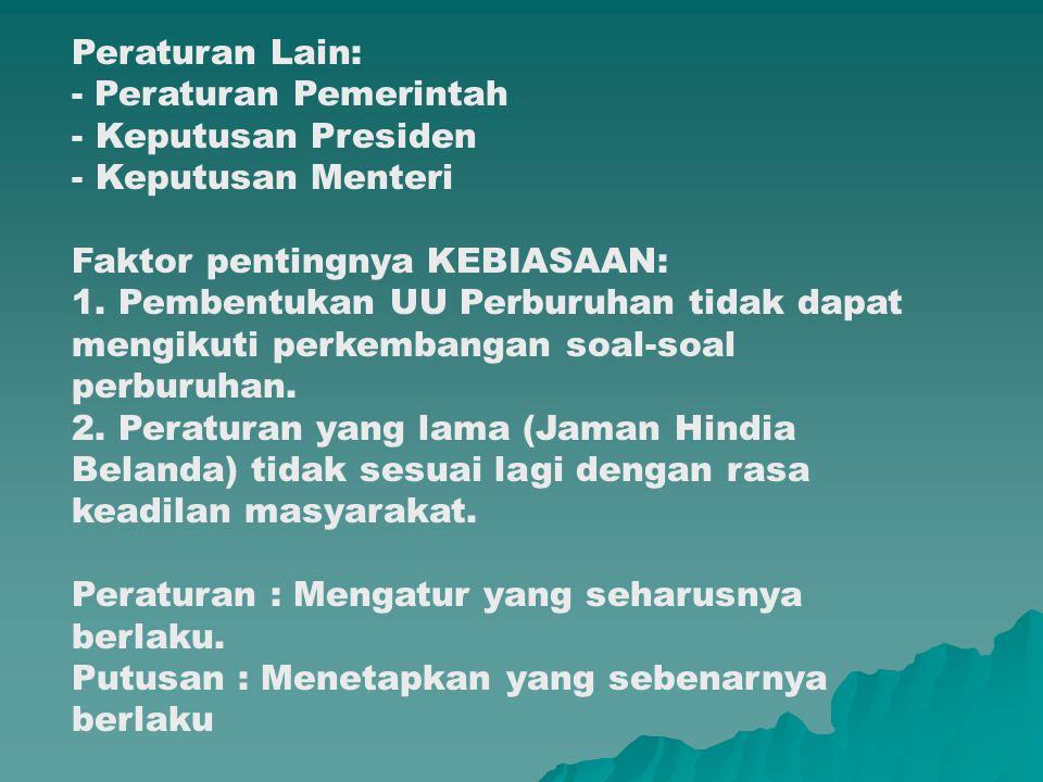 Peraturan Lain: - Peraturan Pemerintah. Keputusan Presiden. Keputusan Menteri. Faktor pentingnya KEBIASAAN:
