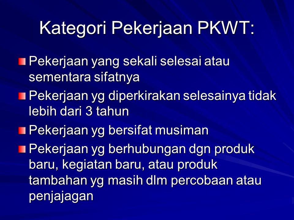 Kategori Pekerjaan PKWT: