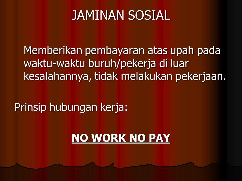 JAMINAN SOSIAL Memberikan pembayaran atas upah pada waktu-waktu buruh/pekerja di luar kesalahannya, tidak melakukan pekerjaan.