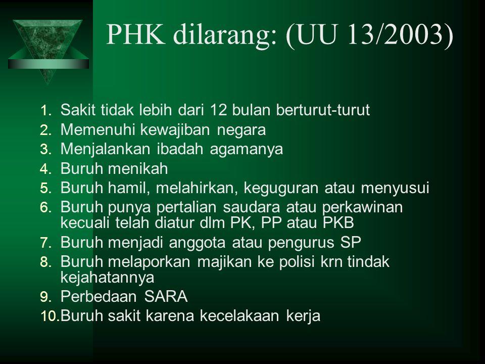 PHK dilarang: (UU 13/2003) Sakit tidak lebih dari 12 bulan berturut-turut. Memenuhi kewajiban negara.