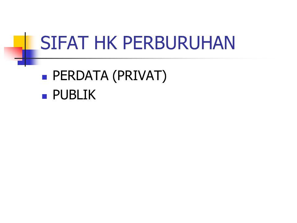 SIFAT HK PERBURUHAN PERDATA (PRIVAT) PUBLIK