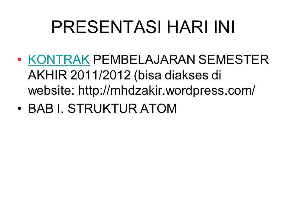 PRESENTASI HARI INI KONTRAK PEMBELAJARAN SEMESTER AKHIR 2011/2012 (bisa diakses di website: http://mhdzakir.wordpress.com/