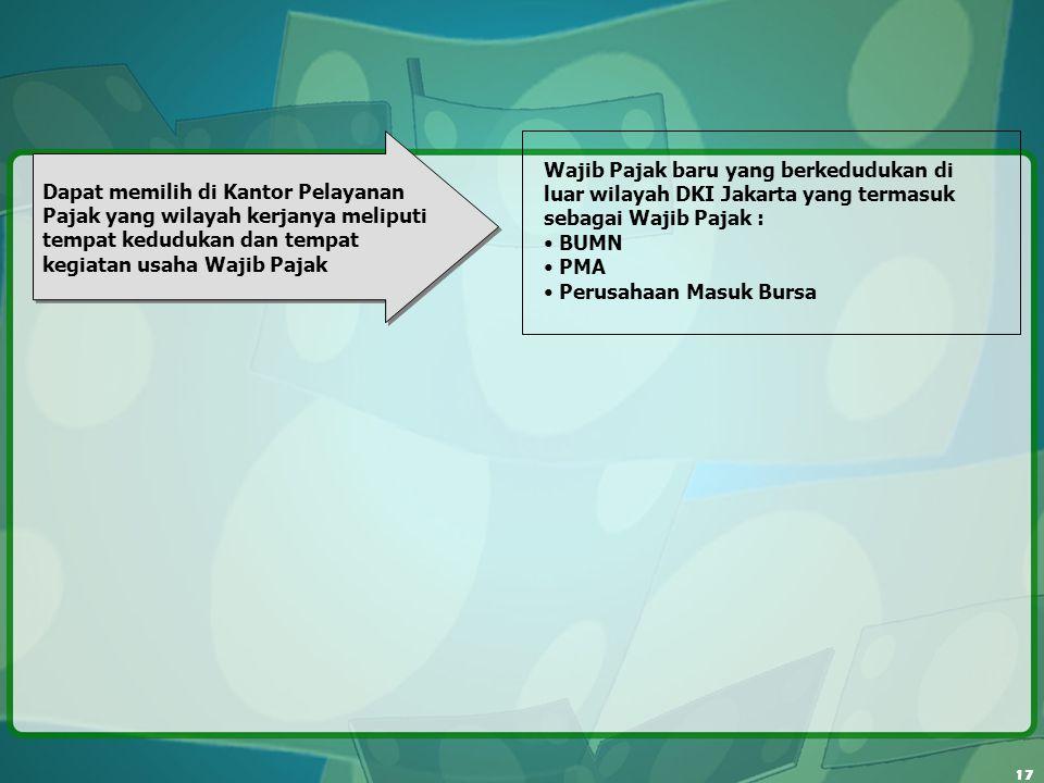Wajib Pajak baru yang berkedudukan di luar wilayah DKI Jakarta yang termasuk sebagai Wajib Pajak :