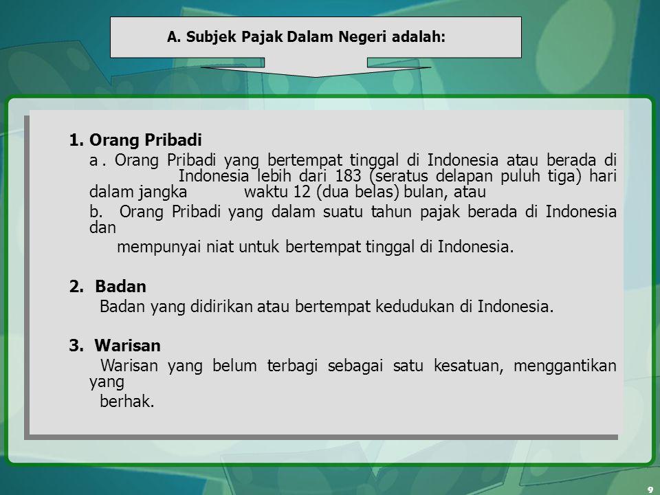 b. Orang Pribadi yang dalam suatu tahun pajak berada di Indonesia dan