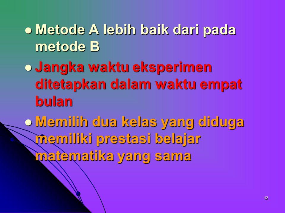 Metode A lebih baik dari pada metode B