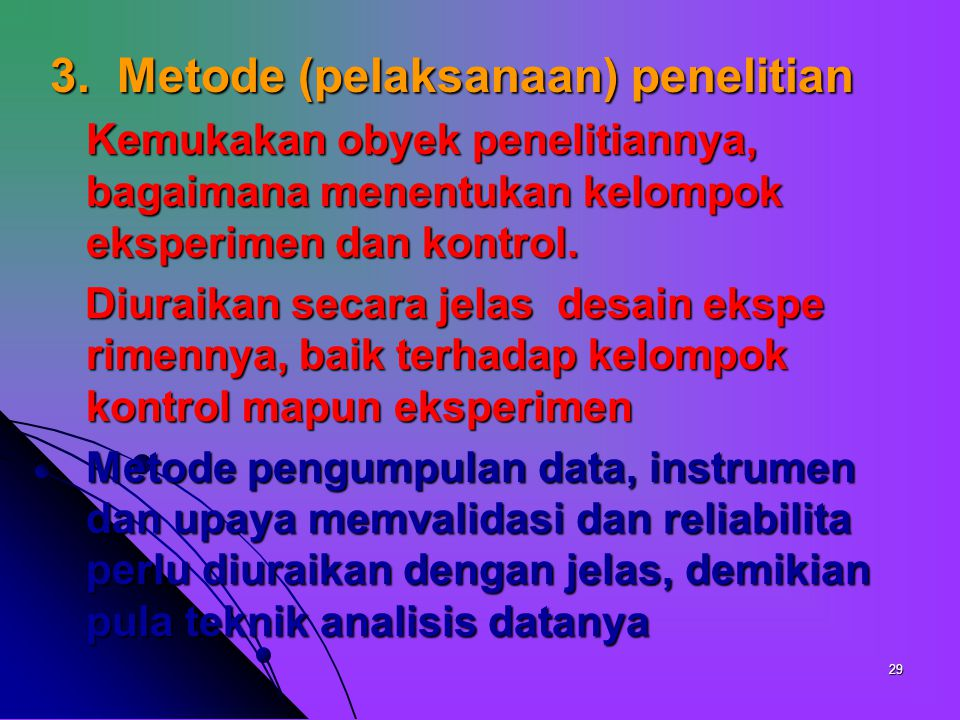 3. Metode (pelaksanaan) penelitian