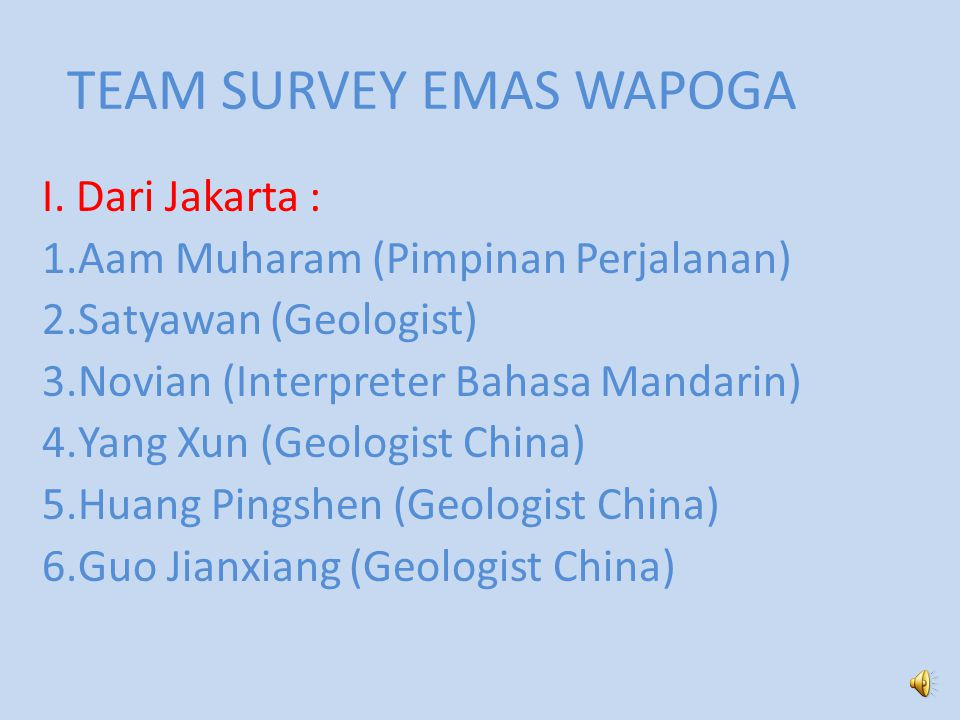 TEAM SURVEY EMAS WAPOGA