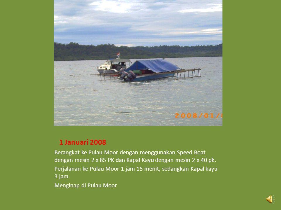 1 Januari 2008 Berangkat ke Pulau Moor dengan menggunakan Speed Boat dengan mesin 2 x 85 PK dan Kapal Kayu dengan mesin 2 x 40 pk.