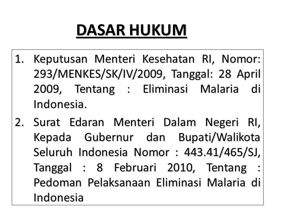 DASAR HUKUM Keputusan Menteri Kesehatan RI, Nomor: 293/MENKES/SK/IV/2009, Tanggal: 28 April 2009, Tentang : Eliminasi Malaria di Indonesia.